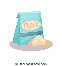Flour in a craft paper bag vector Illustration on a white background