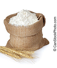 Flour in bag with ears isolated on white background