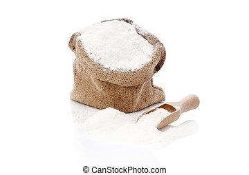 Flour in burlap sack. - Flour in brown burlap sack isolated...