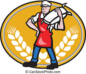 Illustration of a flour miller worker wearing apron bib carrying flour sack on shoulder set inside oval with wheat stalk crossed in background done in cartoon style.