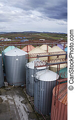 flour mills  - Many big colorful industrial flour mills