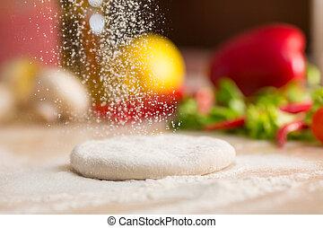flour., preparation., pâte, tomber, italien, pizza