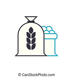 Flour production linear icon concept. Flour production line vector sign, symbol, illustration.