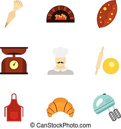 Flour products icons set, flat style