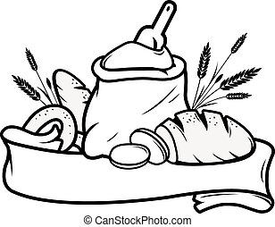 Black and white bakery shop sign with sack of flour, loafs of bread, sliced bread and barley. Vector Illustration