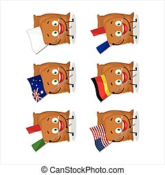 Flour sack cartoon character bring the flags of various countries. Vector illustration