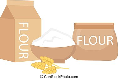 Flour set, flat style. isolated on a white background. still life. Vector illustration