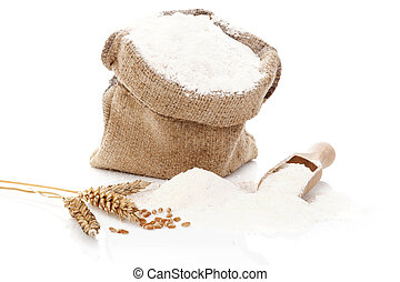 Flour still life. - Flour in burlap sack. Flour and rye crop...