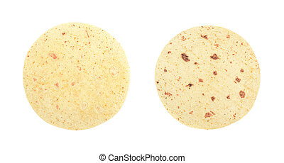 Flour tortilla flatbread isolated