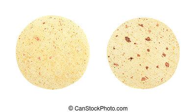 Flour tortilla flatbread isolated