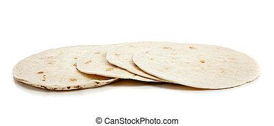 Flour tortillas on white - Four Flour tortillas on a white...