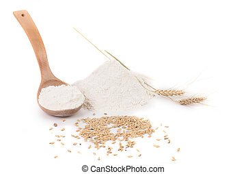 Flour wheat ear and wood spoon. Isolated on a white...