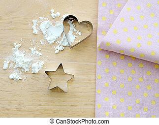Flour with star and heart shape, tablecloth