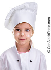 Floured face. Portrait of a cute girl chef white uniform isolated on white background