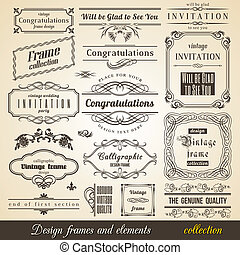 Flourish Border Corner and Frame collection. Vector Card...