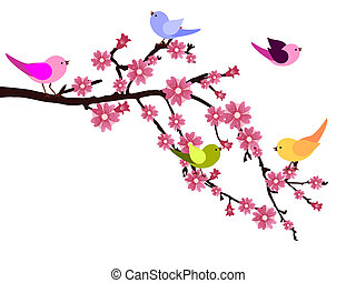 Vector illustration of colorful birds and flowers on a brunch