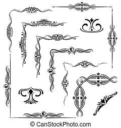 Flourish decorative elements, ornament borders isolated on white