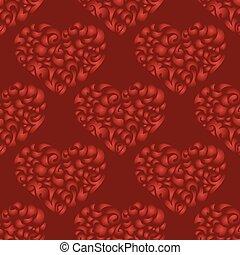 flourish heart red seamless vector pattern