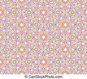 Flourish mosaic tiled pattern. Floral oriental ethnic background
