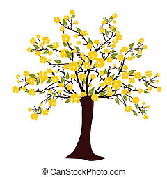 Flourish tree - vector illustration of a tree with yellow...