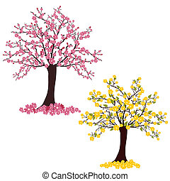 vector illustration of two colorful flourish trees