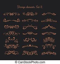 Flourish vector embellishments. Flourishes filigree calligraphic elegant swirls elements