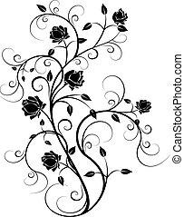flourishes, em, pretas, 6
