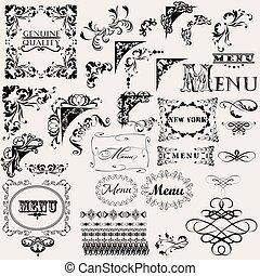 flourishes, ensemble, vecteur, conception, main, dessiné