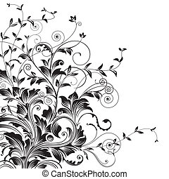 Flourishes - Floral drawing of corner decorative background....