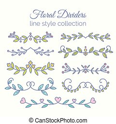 Flourishes. Hand drawn dividers set. Line style decoration.