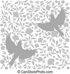 flourishes, oiseaux