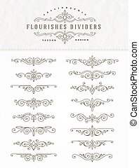 flourishes, set, dividers