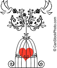 flourishes with heart and doves