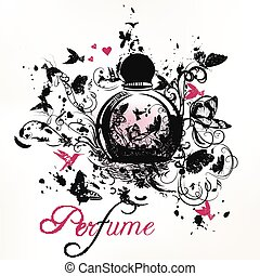 flourishes.eps, flecke, parfüm, formen, vlinders, vögel, bootle
