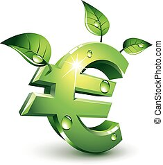 Flourishing euro - Green euro sign with green leaves. Eps8....