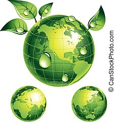 Green globe with green leaves. Eps8. CMYK. Organized by layers. Global colors. Gradients used.