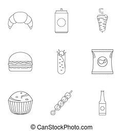 Floury icons set. Outline set of 9 floury icons for web isolated on white background