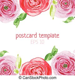 flover frame - vector template greeting card with watercolor...
