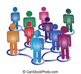 Flow chart business teamwork logo