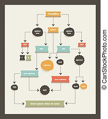 Flow chart diagram, scheme. Infographic algorithm element. -...