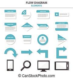 Flow chart elements templates flat design set for brochure...