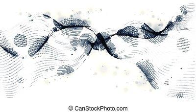 flow., lignes, particules, délassant, étalage, vecteur, mélangé, avenir, particule, maille, technologie, lisser, wallpaper., points, résumé, fond, écoulement, 3d, courbe, forme, vague