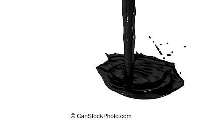 Flow of black paint like oil splattering on white background and dripping down over white. 3d render with alpha mask for background, transition or overlays. Version 4