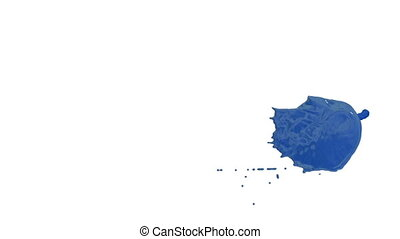 Flow of blue paint splattering on white background and dripping down over white. 3d render with alpha mask for background, transition or overlays. Version 1