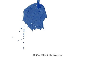 Flow of blue paint splattering on white background and dripping down over white. 3d render with alpha mask for background, transition or overlays. Version 12