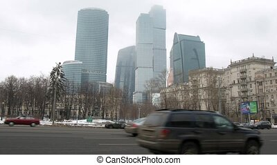 Flow of cars goes on prospectus before business center Moscow City