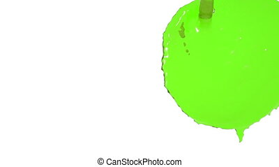 flow of green fluid fills a screen in slow motion. nectar