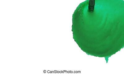 flow of green fluid fills a screen in slow motion