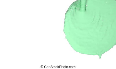 flow of green fluid fills the screen. Colored paint