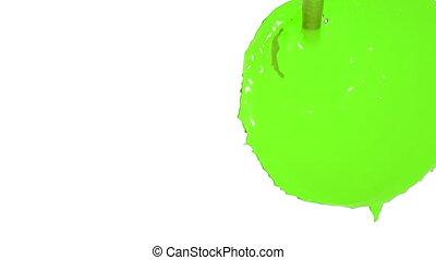 flow of green fluid fills the screen. juice